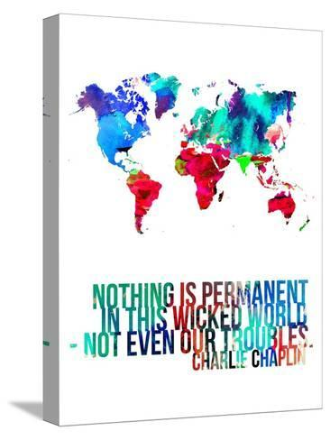 World map quote charlie chaplin stretched canvas print by naxart world map quote charlie chaplin gumiabroncs Gallery