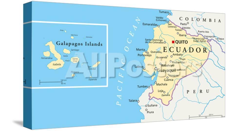 Galapagos On World Map.Ecuador And Galapagos Islands Political Map Prints By Peter Hermes