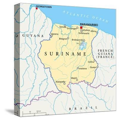Suriname Political Map Poster By Peter Hermes Furian At Allposters Com