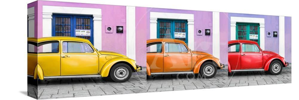 Panoramic Collection Three Vw Beetle Cars With Colors Street Wall Xvii Photographic Print By Philippe Hugonnard At Allposters