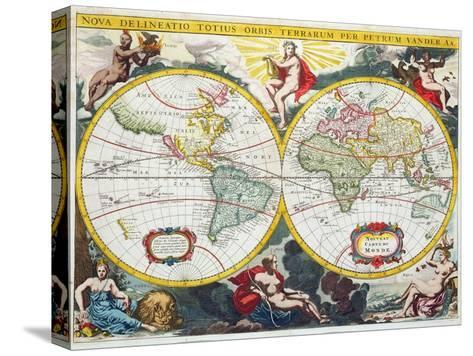 World Map Early 18th Century Stretched Canvas Print By Pieter Van