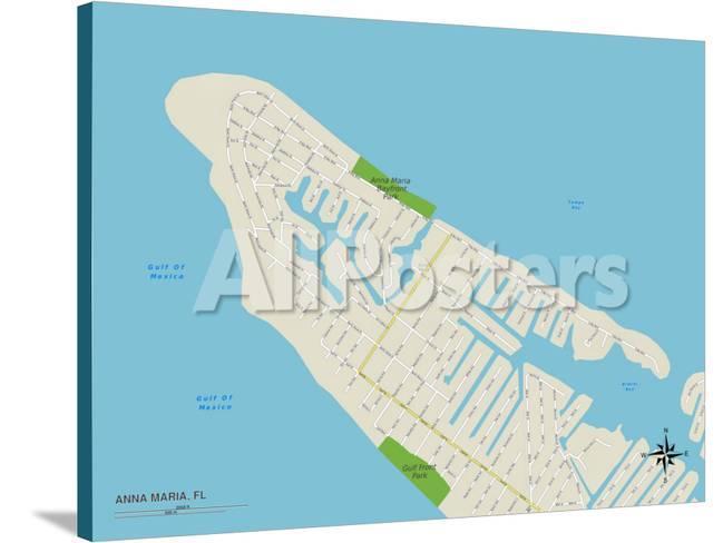 Map Of Anna Maria Island Florida.Political Map Of Anna Maria Fl Poster At Allposters Com