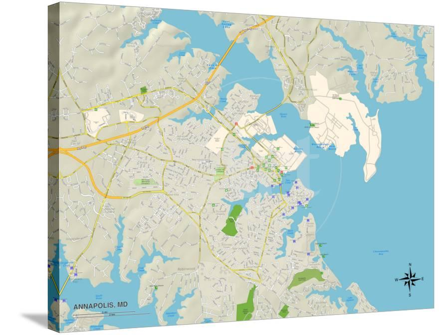 Political Map of Annapolis, MD Prints at AllPosters.com