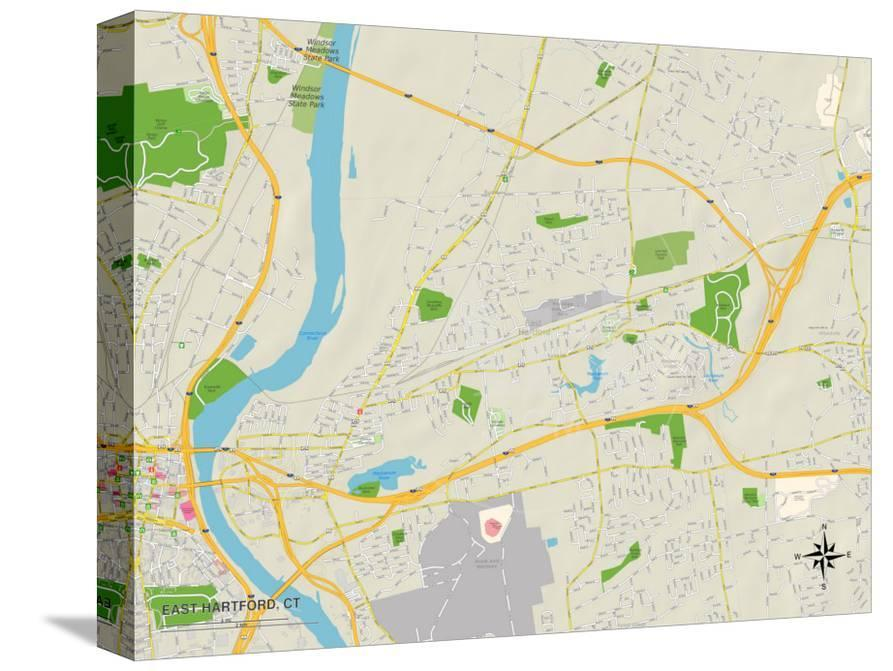 Political Map of East Hartford, CT Print at AllPosters.com
