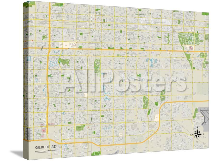 Map Of Arizona Gilbert.Political Map Of Gilbert Az Poster At Allposters Com