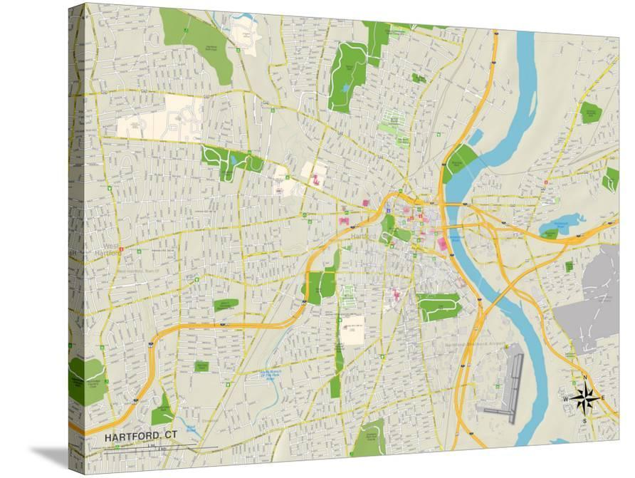 Political Map of Hartford, CT Prints at AllPosters.com