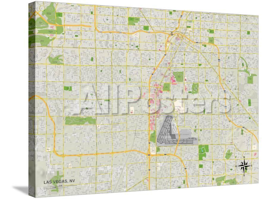 Political Map of Las Vegas, NV Print at AllPosters.com