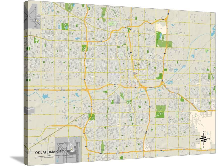 Political Map Of Oklahoma City Ok Print At Allposters Com