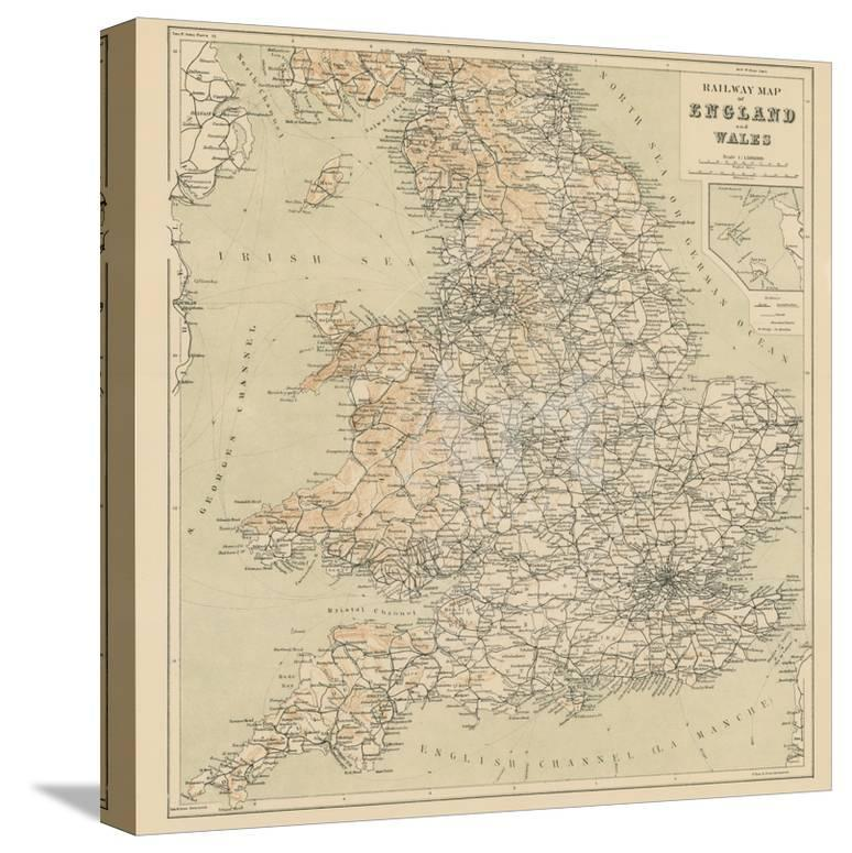 Map Of England 870.Railway Map Of England And Wales Giclee Print At Allposters Com