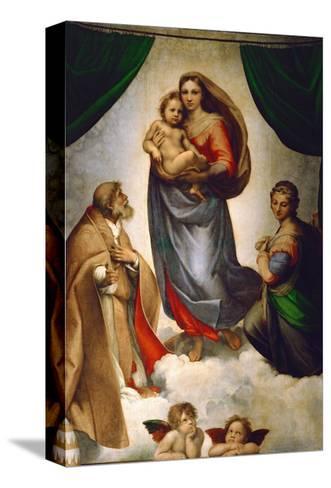 Madonna Sixtina, pintada para el Papa Julio II como su regalo a la ciudad de Plasencia, Italia, 1512-1513 Reproducción de lámina sobre lienzo