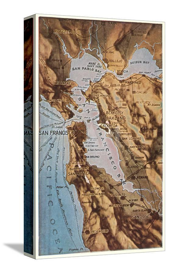 Relief Map of Bay Area, San Francisco, California Poster at ... on