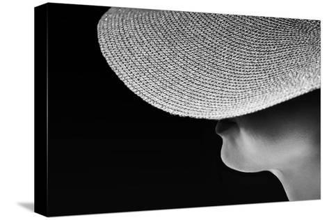 Woman Silhouette in Black and White Photo, Artistic Photo of Woman,Woman in Hat Fragment Photo, Con Stretched Canvas Print