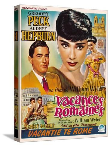 Roman Holiday, Gregory Peck, Audrey Hepburn, 1953 Stretched Canvas Print