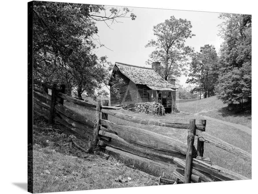 Rustic Log Cabin from 1880s Behind Post and Rail Fence in Blue Ridge  Mountains