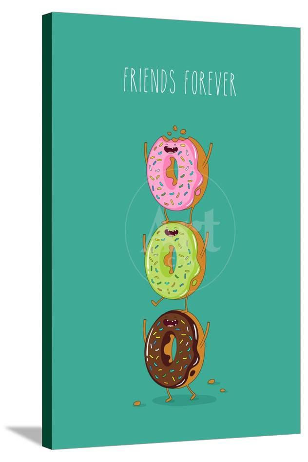 Funny Donuts  Vector Illustration  Friends Forever
