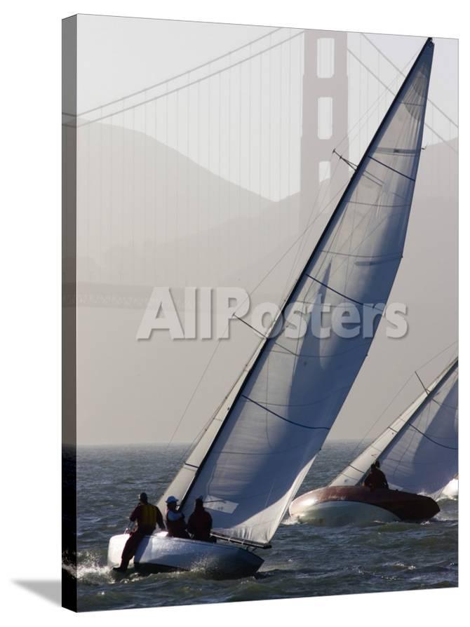 Sailboats Race on San Francisco Bay with the Golden Gate Bridge, San  Francisco Bay, California