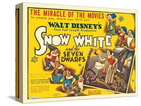 Snow White and the Seven Dwarfs, UK Movie Poster, 1937 Stretched Canvas Print