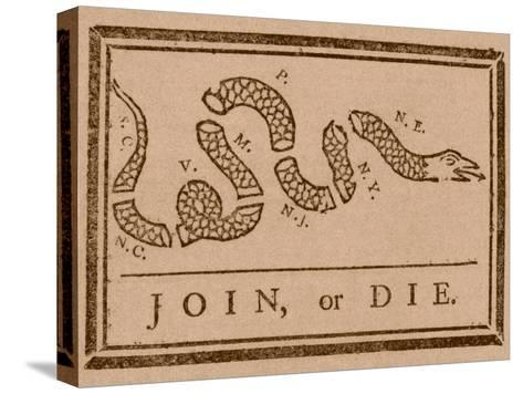 The Join Or Die Print Was a Political Cartoon Created by Benjamin Franklin Stretched Canvas Print
