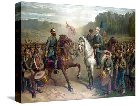 Vintage Civil War Painting of Gernal Lee And Jackson On Horseback Stretched Canvas Print