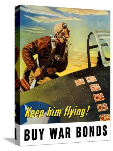 Vintage World War II Poster of a Fighter Pilot Climbing Into His Airplane Stretched Canvas Print