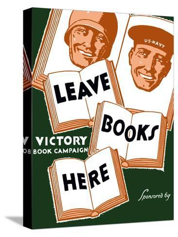 Vintage WPA Poster of Several Books And the Faces of a Soldier And a Sailor Stretched Canvas Print