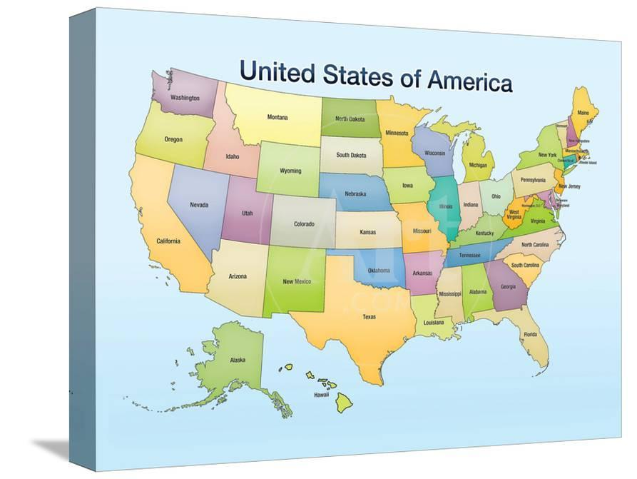United States of America Map Educational Poster Print Photo at ...