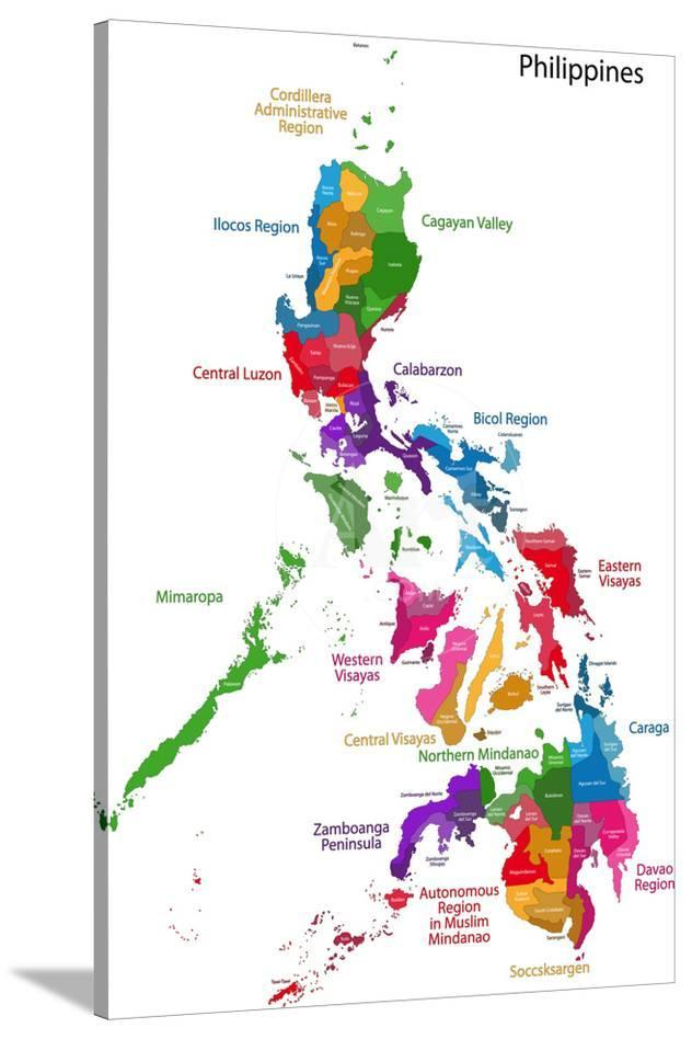 Map Of Republic Of The Philippines With Eighty Provinces Prints By