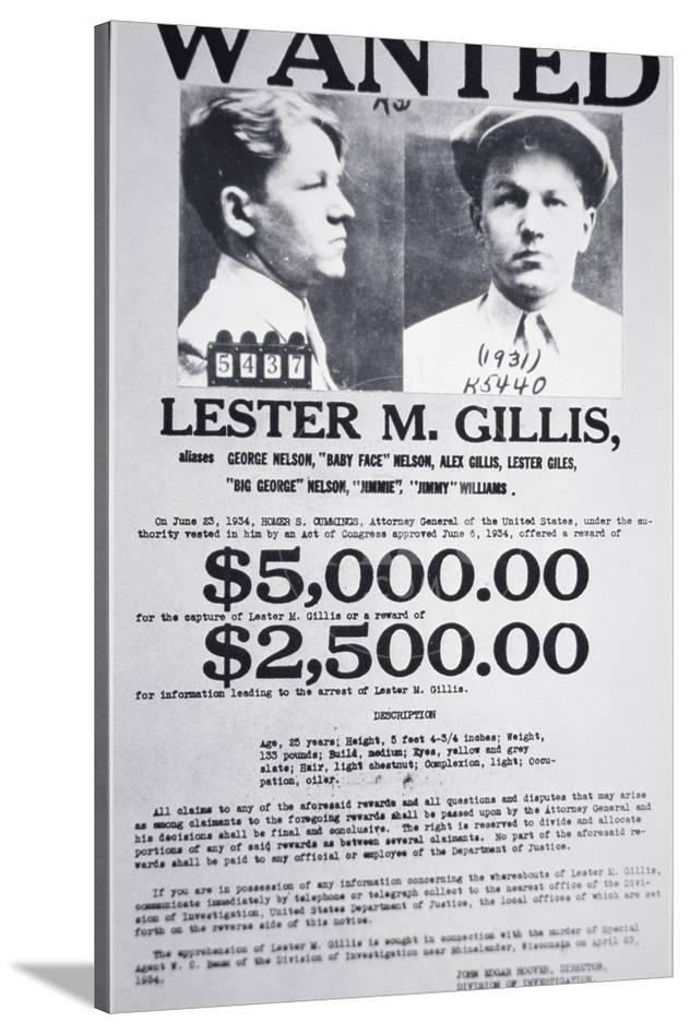 Wanted Poster for Lester M  Gillis 'Baby Face' Nelson