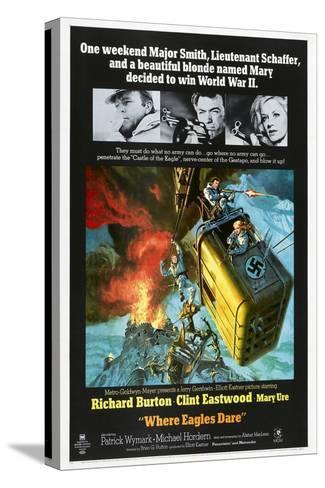 Where Eagles Dare, US poster, Richard Burton, Clint Eastwood, Mary Ure, 1968 Stampa su tela