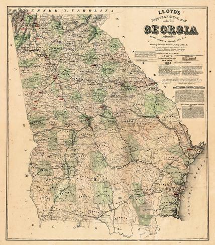 United States Map Georgia.1864 Georgia State Map Georgia United States Giclee Print At