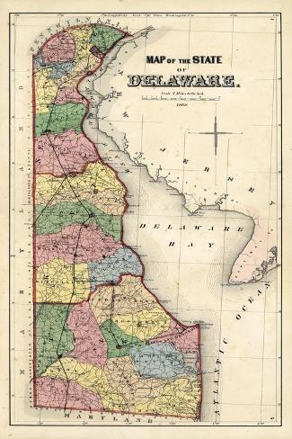1868, Delaware State Map, Delaware, United States Giclee Print at ...