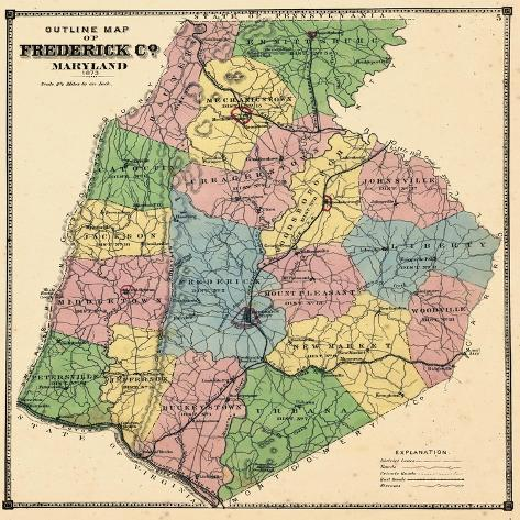 1873, Frederick County Map, Maryland, United States