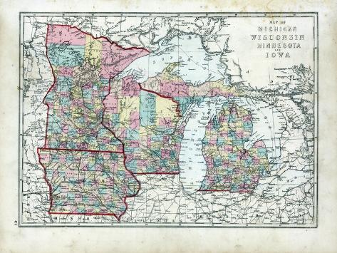 Michigan And Wisconsin Map.1873 Michigan Wisconsin Minnesota Iowa Usa Giclee Print At