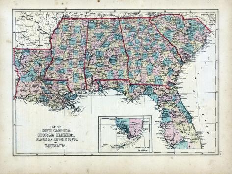 1873, South Carolina, Georgia, Florida, Alabama, Mississippi, Louisiana, USA