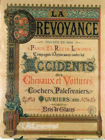 Advertisement For La Prevoyance, Insurance Company Specialising in Car and  Horse Accidents