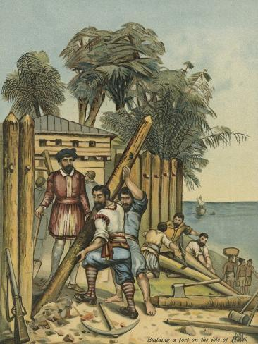 Columbus Building A Fort In Haiti Giclee Print By Andrew Melrose At