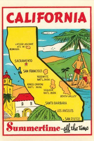 California Map Cartoon.Cartoon Map Of California Prints At Allposters Com