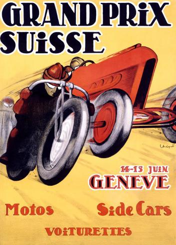 Grand Prix Suisse Vintage motor racing advert  poster reproduction.