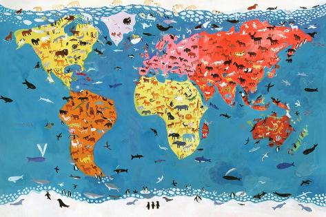 World Map Of Wild Animals Poster By Chris Corr At Allposters Com