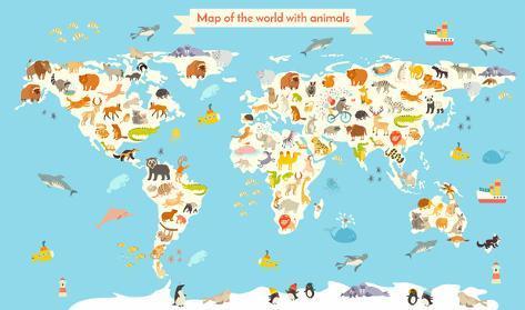 Animals World Map Colorful Cartoon Vector Illustration For Children