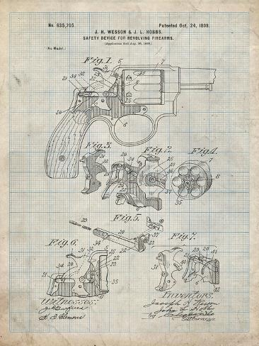 PP375-Antique Grid Parchment Smith and Wesson Hammerless Pistol 1898 Patent  Poster