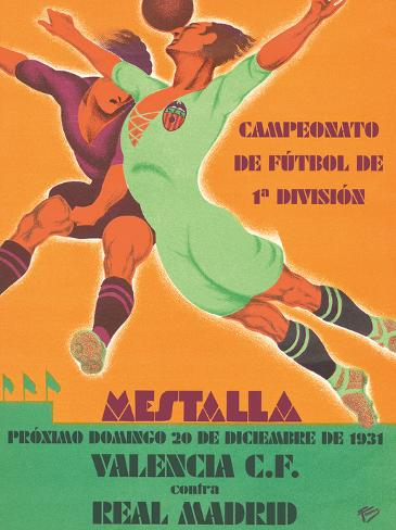 Soccer Football Game Mestalla Valencia Spain Sport 16X20 Vintage Poster FREE S//H