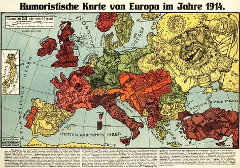 karte von Satirical Map   Humoristische Karte Von Europa Im Jahre 1914