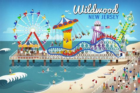 Wildwood New Jersey Retro Beach Boardwalk Art By Lantern Press At Allposters