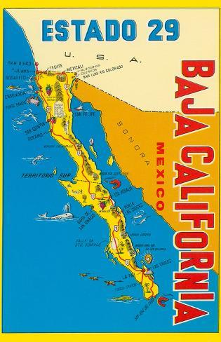 Map of Baja California, Mexico Posters at AllPosters.com