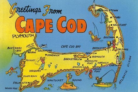 Map of Cape Cod, Massachusetts Prints at AllPosters.com