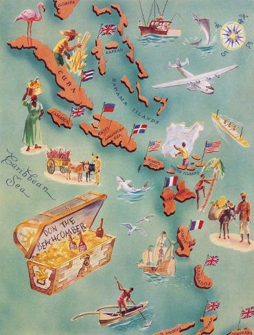 Islands Bahamas Vintage Pictorial Map Poster Giclee Canvas Print 25x22