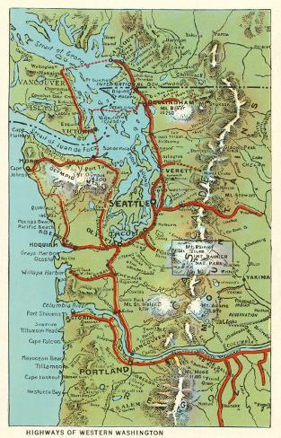 Map of Western Washington Photo at AllPosters.com