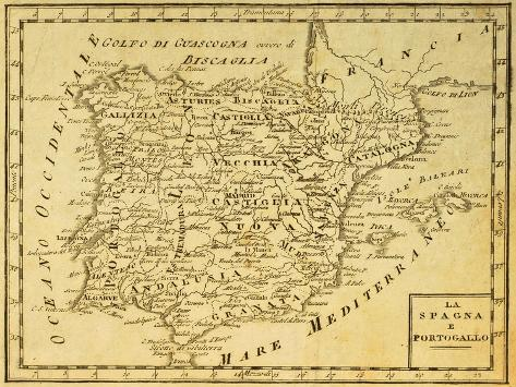 Map Of Spain Old.Spain And Portugal Old Map Published In Venice Italy 1810