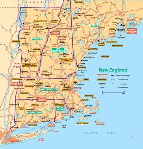 Michelin Official New England Map Art Print Poster Posters at ...